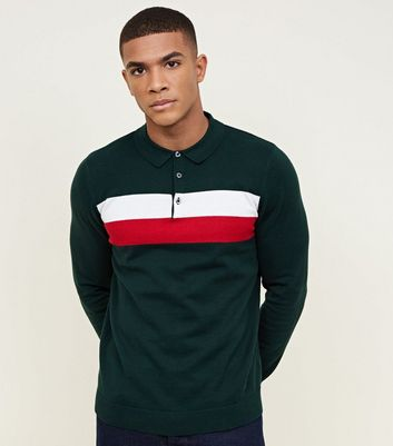 Dark Green Colour Block Polo Shirt