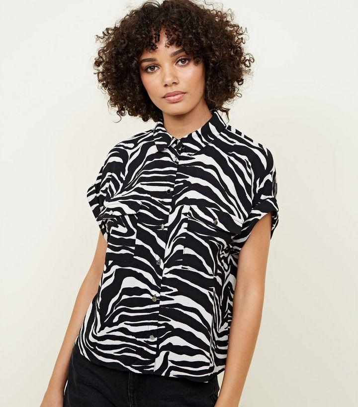 f3602a29 Black Zebra Print Rolled Sleeve Shirt | New Look