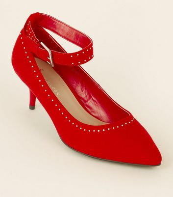 Wide Fit Red Studded Ankle Strap Kitten Heels