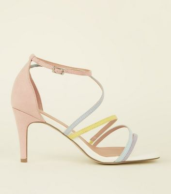 Wide Fit White Pastel Strappy Square Toe Sandals