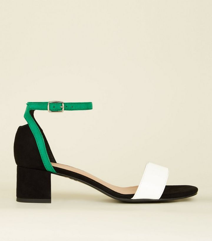 a8f87f11790 Girls Black Suedette Colour Block Low Heel Sandals Add to Saved Items  Remove from Saved Items