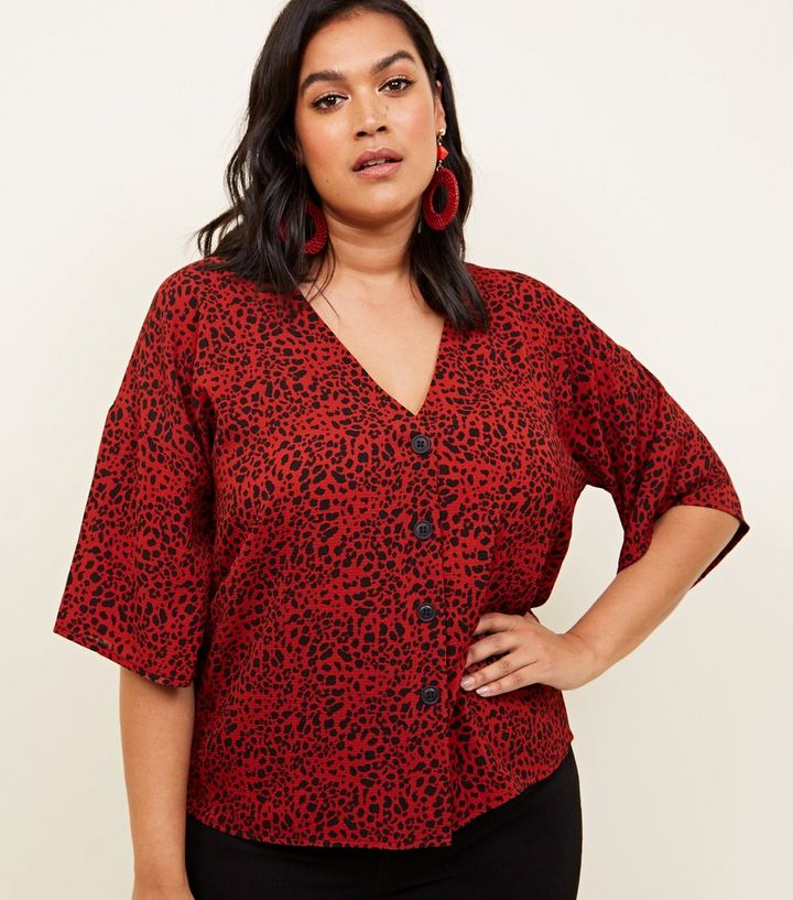 0d421485 Curves Red Leopard Print Boxy Shirt | New Look