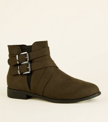 Girls Khaki Suedette Buckle Ankle Boots by New Look