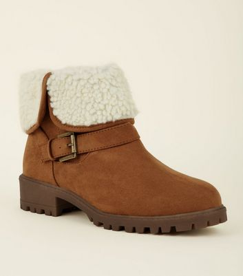 Girls Tan Suedette Teddy Lined Ankle Boots