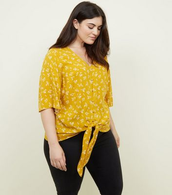 Curves Yellow Floral Button Tie Front Top