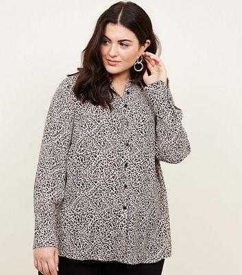 Curves Brown Leopard Print Longline Shirt