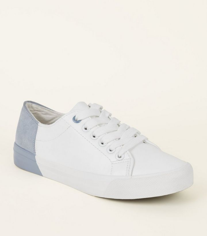 Girls White Colour Block Flatform Trainers New Look