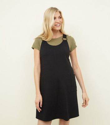 Maternity Black Round Buckle Cross Hatch Pinafore Dress