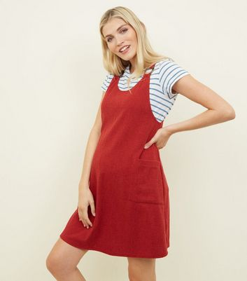 Maternity Red Cross Hatch Round Buckle Pinafore Dress