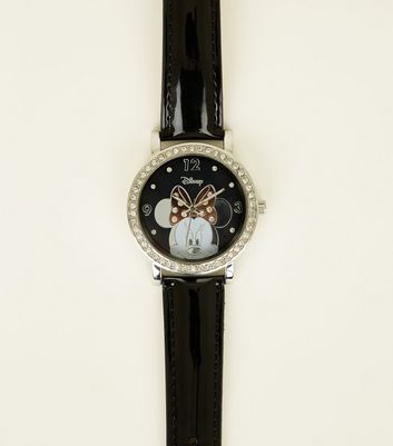 Black Disney Minnie Mouse Diamanté Watch