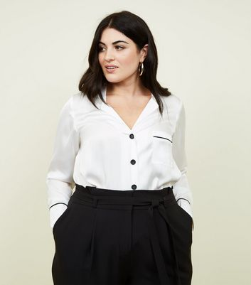 Curves White Satin Contrast Piped  Shirt