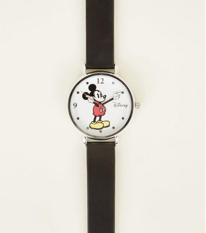 4108779e11 Montre noire classique Disney Mickey Mouse   New Look
