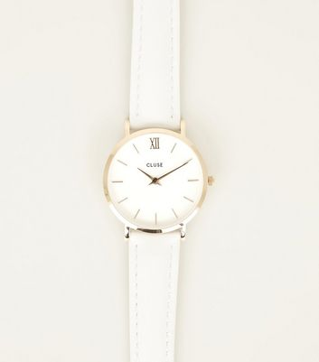Cluse White Leather Strap Minuit Watch