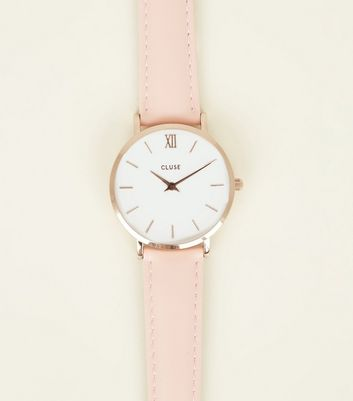 Cluse Pink Leather Strap Minuit Watch