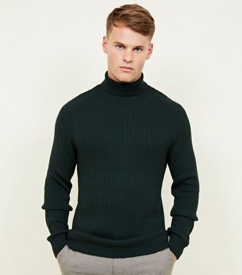 Dark Green Racking Stitch Roll Neck Jumper