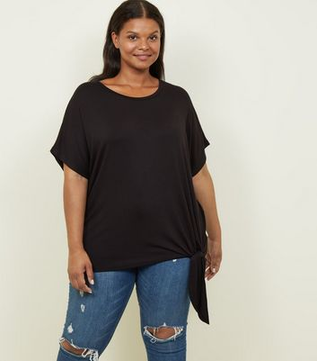 Curves Black Tie Side T-Shirt