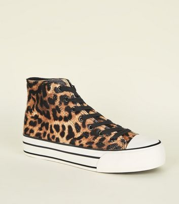 Stone Velvet Leopard Print High Top Flatform Trainers