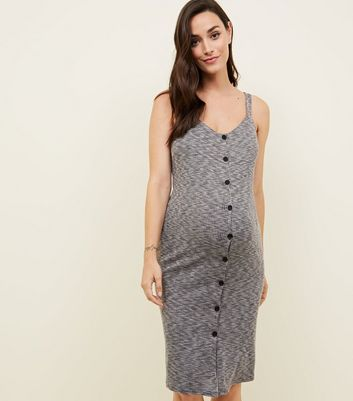 Maternity Grey Ribbed Button through Midi Dress