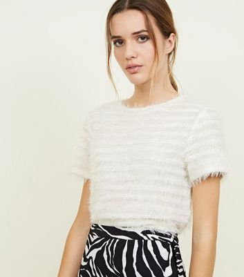 Cream Fluffy Stripe Fine Knit T-Shirt