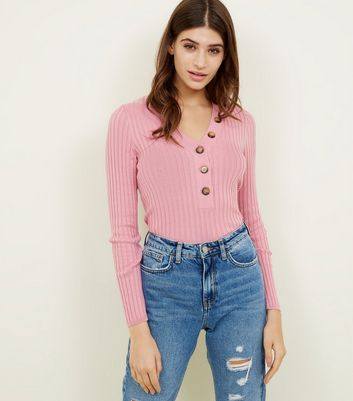 Mid Pink Ribbed Button Front Jumper