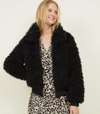 Black Curly Faux Fur Bomber Jacket