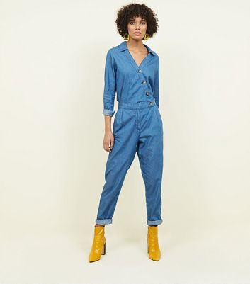 Blue Wrap Front Denim Jumpsuit
