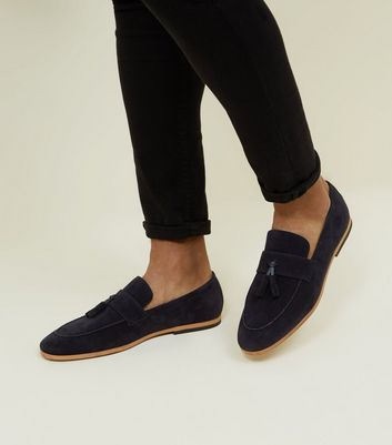 Navy Tassel Suedette Loafers by New Look