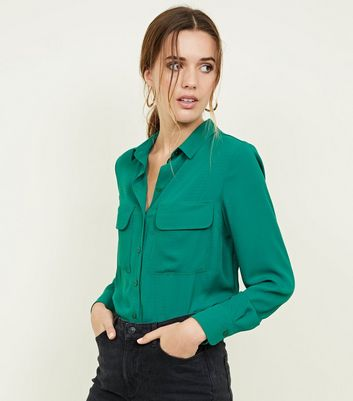 Green Pocket Front Crepe Shirt