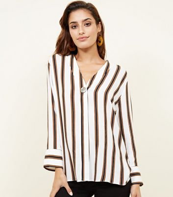 Off White Stripe Single Button Blouse