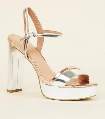 Silver Contrast Metallic Block Heel
