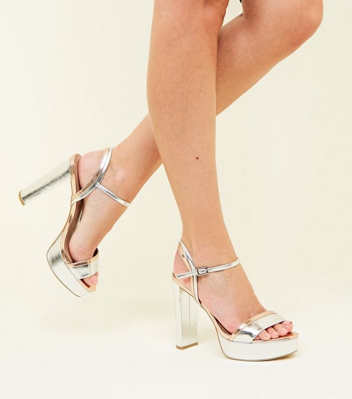 ... Silver Contrast Metallic Block Heel Platform Sandals. ×. ×. ×. Shop the  look 63a762f233dd