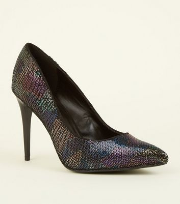 Black Sequin Embellished Heeled Courts