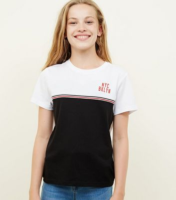Girls Black NYC Tape Trim T-Shirt