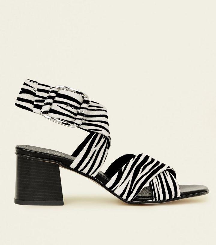 0eb53bfe9994 Black Premium Zebra Print Suede Sandals