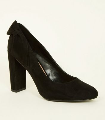 Black Suedette Bow Back Block Heel Courts