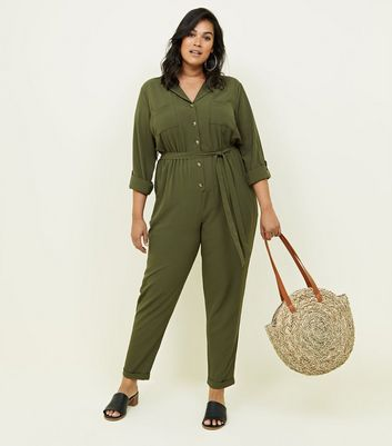 Curves Khaki Revere Collar Belted Jumpsuit