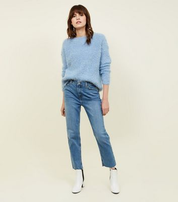 Blue Frayed Cropped Straight Leg Harlow Jeans