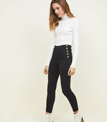 Black Button Side High Waist Super Skinny Hallie Jeans
