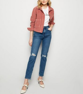 Blue Ripped Knee Slim Leg Tori Mom Jeans