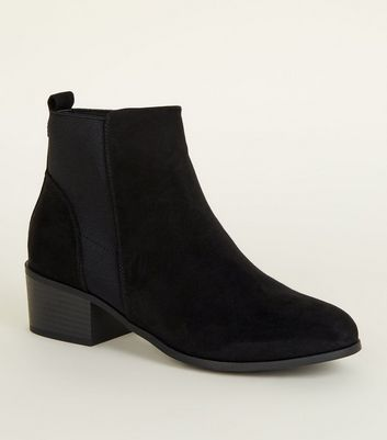 Black Suedette Low Block Heel Chelsea Boots