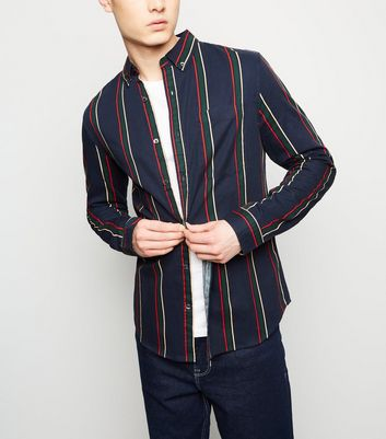 Navy Stripe Washed Twill Shirt