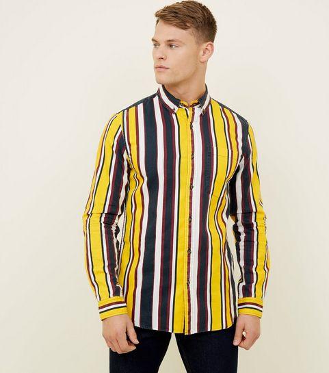 ba3220116ed ... Yellow Stripe Washed Cotton Long Sleeve Shirt ...