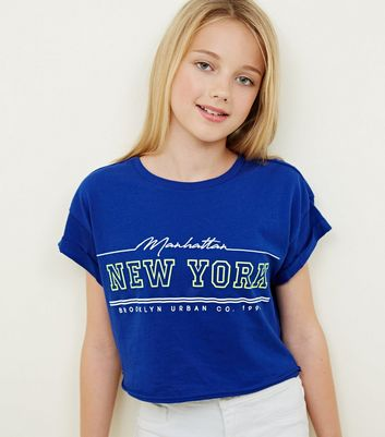 Girls Blue Neon New York Print T-Shirt