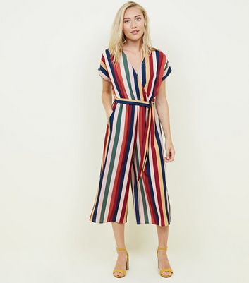 Petite Multicoloured Stripe Wrap Front Jumpsuit