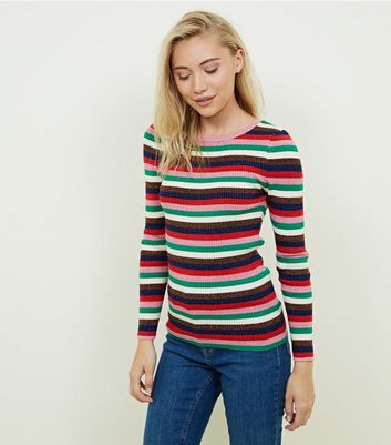 Petite Rainbow Glitter Stripe Crew Neck Jumper