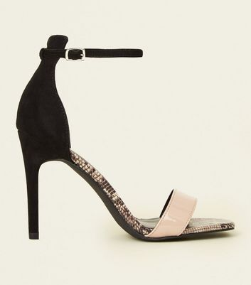Black Faux Snakeskin Colour Block Stiletto Sandals