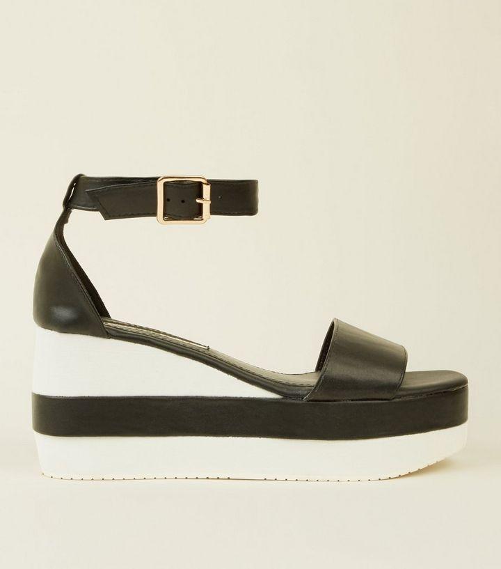 c47d608f8247 Black Contrast Platform Wedge Sandals