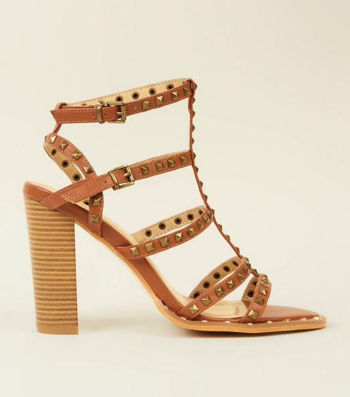 a34f2666ded Tan Studded Gladiator Block Heel Sandals