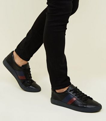 Black Side Stripe Perforated Trainers