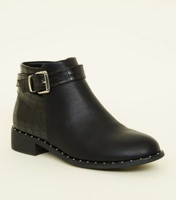 Girls Black Faux Croc Back Ankle Boots